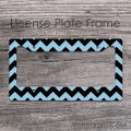 Sky blue chevron customized car license frame